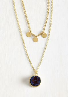Shining Inspiration Necklace. Allow the stunning design of this tiered necklace to set the tone for todays ensemble! #blue #modcloth