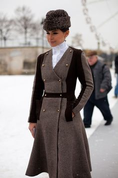 Street Style. HAUTE COUTURE: Spring 2013. Miroslava Duma channels old world elegance in a double breasted coat. harpersbazaar.com