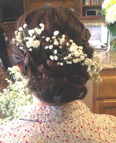 updo with Baby's Breath flowers by Lisa Leming  http://lisaleming.com/