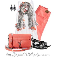 """""""Black, White and Salmon"""", created by jaycee0220 on Polyvore"""