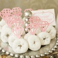 Donut diamond rings - great idea since the bride-to-be LOVES these little donuts!