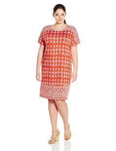 bd83ccc67819 Lucky Brand Women s Plus Size Tile Print Dress