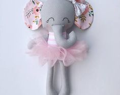 Elephant doll - fabric doll - handmade doll - rag doll - girls room decor - girls toy - baby gift - cloth doll - elephant - plush - nursery