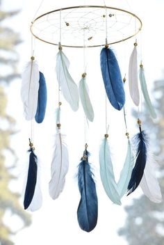 Child Boy Cellular, Dreamcatcher Cellular, Child Boy Nursery, Navy Blue  White Mint Feathers Blue Nursery Decor,  Double Feathers Cellular