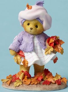 Take a look at this Enesco Picking Up Leaves Cherished Teddies Figurine today! Teddy Bear Gifts, My Teddy Bear, Cute Teddy Bears, Bear Toy, Tatty Teddy, Clay Bear, Tiny Teddies, Felt Mouse, Boyds Bears