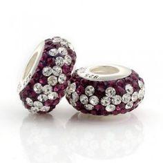 Silver White Purple Match Crystal Bead