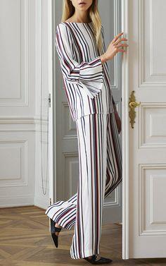 Manavi Striped Ruffle Blouse by BAUM UND PFERDGARTEN for Preorder on Moda Operandi