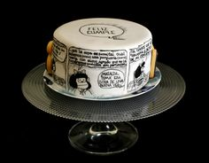 ^o^ Mafalda Cake Fondant Cakes, Cupcake Cakes, Fiesta Decorations, 25th Birthday, Party Entertainment, Dessert Recipes, Desserts, Cake Cookies, Amazing Cakes