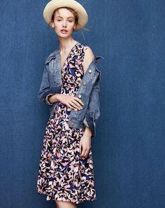 J.Crew women's denim jacket in Tyler wash, silk pleated dress in hibiscus print and panama hat.