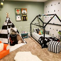 """Love this!  So adorable for our little """"tribe""""!  Etsy Toddler bed WHITE/ BLACK, house bed, tent bed, children bed, wooden house, wood house, wood nursery,"""