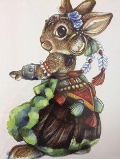 Gypsy Rabbit Temporary Tattoo Body Art 6 x 8 by PaperRoseCottage
