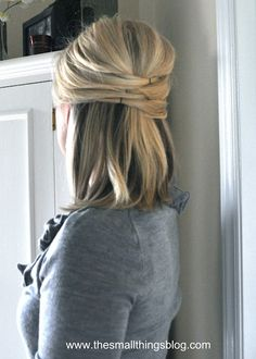 Have you seen this half-up/half-down style? With just a few well-placed pins, the blogger, a professional hairstylist, created this marvelous woven effect. She's posted easy how-tos for this and other pretty looks in videos on her blog—definitely check it out.