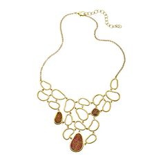 Andara Cut Out Bean Shape Statement Druzy Necklace ($190) ❤ liked on Polyvore
