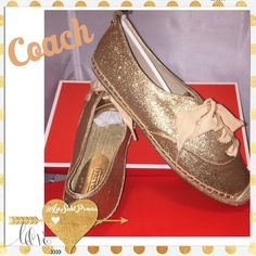 "Coach ""Ramira"" Glitter Espadrilles Beautiful Rose-Gold Glitter Fabric adorns these lace-up espadrille shoes from Coach. Rose-gold metal button embossed with Coach on each heel as well. RARE!! ***Discontinued Limited Edition**NIB** Original Retail price $118- Coach Shoes Espadrilles"