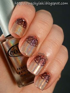 Color Club Cosmic Fate with stamping and nail studs