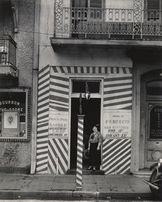 "WALKER EVANS, ""Barber Shop, New Orleans"", 1935, silver print; printed 1971, 9 3/8"" x 7 9/16"""