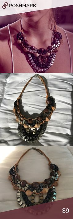 Rustic statement necklace Interesting beading and multi color chains make great statement piece. Lobster clasp closure. Campaign image it was used in shown for outfit idea😊 Jewelry Necklaces