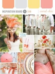 Coral wedding details paired with metallic silver and gold for a chic combination!