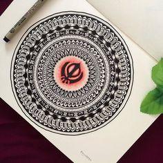 "the artist's canvas ✒️ ""☬ਰਾਜ ਕਰੇਗਾ ਖਾਲਸਾ☬. complete mandala"" beautiful artwork by 🙏🏽😀 Mandala Art Lesson, Mandala Drawing, Mandala Tattoo, Canvas Art Projects, Henna Tattoo Designs, Tattoo Ideas, Bullet Journal Ideas Pages, Book Making, Mandala Design"