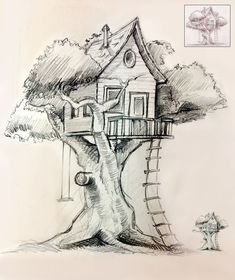 how to draw a tree house Tree Drawings Pencil, Landscape Pencil Drawings, Cool Art Drawings, Art Drawings Sketches, Tree House Drawing, Tree Drawing Simple, Arte Grunge, House Sketch, Creations