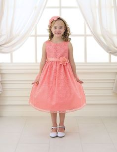 Girls Coral Floral Lace Dress by Calla D749