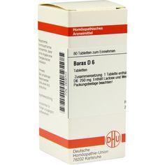 BORAX D 6 Tabletten:   Packungsinhalt: 80 St Tabletten PZN: 02626703 Hersteller: DHU-Arzneimittel GmbH & Co. KG Preis: 5,64 EUR inkl. 19…