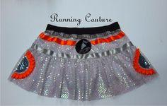 Star wars inspired two tier silver sequins Sparkle Running Women's skirt. orange and gray ribb Run Disney Costumes, Running Costumes, Disney Outfits, Running Outfits, Sparkly Skirt, Bend And Snap, Disney Princess Half Marathon, Grey Ribbon, Thing 1