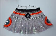 NEW BB8 Star wars inspired two tier iridescent white Sparkle Running Misses skirt.  orange and gray ribbon detail by RunningCouture on Etsy https://www.etsy.com/listing/270699918/new-bb8-star-wars-inspired-two-tier
