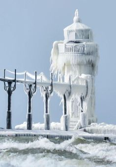 Our St Joseph lighthouse, St Joseph, Michigan Snow Scenes, Winter Scenes, Lake Michigan Lighthouses, Lighthouse Pictures, Winter Wonder, St Joseph, Great Lakes, Cool Photos, Scenery