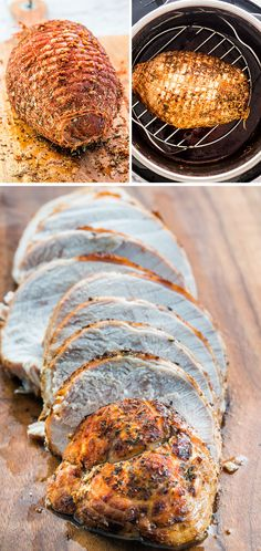 This super easy Instant Pot Turkey Breast is made in a fraction of the time and you'll end up with the juiciest turkey breast ever, plus make your own gravy right in the instant pot. I added 1 cup water. Boneless Turkey Roast, Boneless Turkey Breast Recipe, Rib Roast Cooking Time, Cooking Turkey, Turkey Tenderloin, Pork Loin, Jo Cooks, Pots, Instant Pot Pressure Cooker