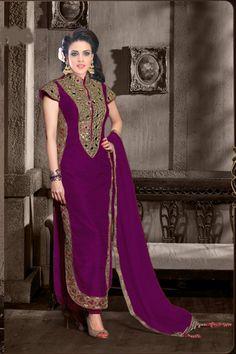 Stylish Party Wedding Wear Purple Salwar Kameez