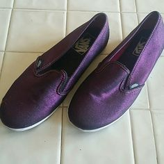 Metallic Purple Vans slip ons -- NWOT Gorgeous never worn Vans, women's 7/men's 5.5.  Perfect condition--just too small for my 7.5 feet. Great for every day, or making a special event funky! Open to all offers and bundles! Vans Shoes