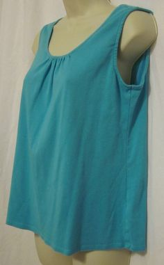 Coldwater Creek Womens Tank Top Shirt Scoop Neck Med 10 12 Sleeveless Shirring