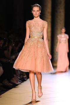 Elie Saab: Runway - Paris Fashion Week Haute Couture F/W 2013    i want this skirts/dress style to go mass production!    peach and gold