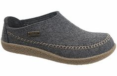 Haflinger Fletcher Gray Wool Felt Wool clog with some style! Warm and cozy natural wool felt uppers keep feet warm in winter and cool in summer. Contrasting topstitching and side band with a semi-enclosed heel. #birkenstock #birkenstockexpress.com  $119
