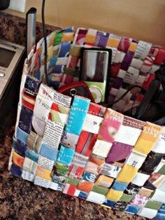 5. #panier Magazine #recyclé - 33 moyens #astucieux d'utiliser des vieux #Magazines... → DIY