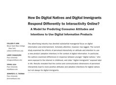 "Mount Saint Mary College - Dr. Kirk's article, ""How Do Digital Natives and Digital Immigrants Respond Differently to Interactivity Online?"" appeared in the Journal of Advertising Research in March. Other contributors to the article include: Larry Chiagouris, Vishal Lala, and Jennifer Thomas from Pace University. Some of this research was presented several years ago at the MSMC CARD Conference."