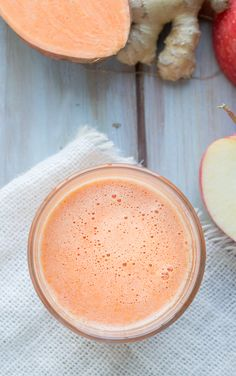 Sweet Potato Apple Ginger Juice | @tasteLUVnourish | #sweetpotato #apple #ginger #juicing #healthy #vegan