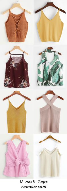 V neck Tops Collection 2017 - romwe.com