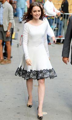 Lily Collins in Valentino and Dana Rebecca Designs