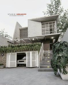 19 trendy home studio architecture building House Front Design, Small House Design, Modern House Design, Tropical House Design, Minimalist House Design, Minimalist Architecture, Modern Architecture, Facade Design, Exterior Design