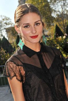 Olivia Palermo,  Red Lip,  Black lace