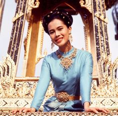 Queen Sirikit at the Grand Palace in Bangkok in 1966.