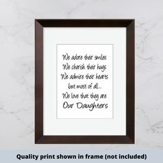 Our Daughters we adore their smiles cherish their hugs | Etsy #prints #digitalprint #digitaldownload #printandframe #readytoframe #diy #printableart Make Your Own Sign, Signs For Mom, Scripture Signs, Painted Wood Signs, Sign Quotes, Happy Kids, Printable Art, Digital Prints, Things To Come