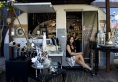 Karen Hsiang, owner of The Shangri-La Jewelry Boutique, sits inside a vintage trailer she rents at The LAB in Costa Mesa.