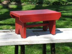 Vintage primitive wood bench red painted child's by oldstufflove, $28.00