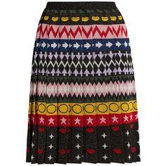 Mary Katrantzou Mandy motif-jacquard pleated skirt ($710) ❤ liked on Polyvore featuring skirts, multi, mary katrantzou, multi color skirt, jacquard skirt, jersey skirt and embellished skirt