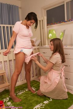 adult-baby girl in diaper Abdl with her mommy