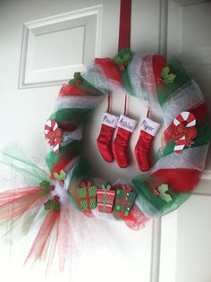 DIY tulle Christmas wreath. Just wrap tulle loosely around a foam circle and tie off. Add decorations with hot glue. Done!