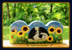 Hand painted (dog portrait) of your furry family member on scalloped garden stones. Garden Edging, Garden Borders, Lawn And Garden, Portraits From Photos, Dog Portraits, Painting Edges, Stone Painting, Concrete Edging, Painted Pavers